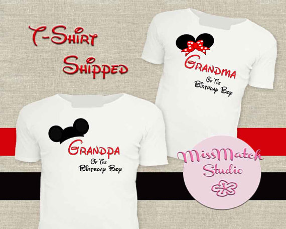 a389a2e0 SALE Grandma Grandpa Family Disney T-Shirt Shipped!! Minnie Mickey Mouse  Birthday Boy Shirt DIY Iron