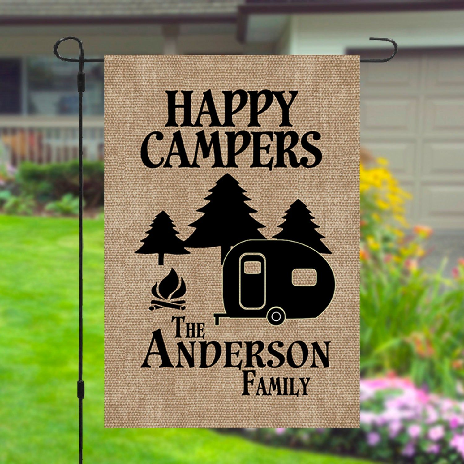 Happy Campers Personalized Custom Family Name Garden Banner Etsy In 2020 Happy Campers Personalized Camping Personalized Custom