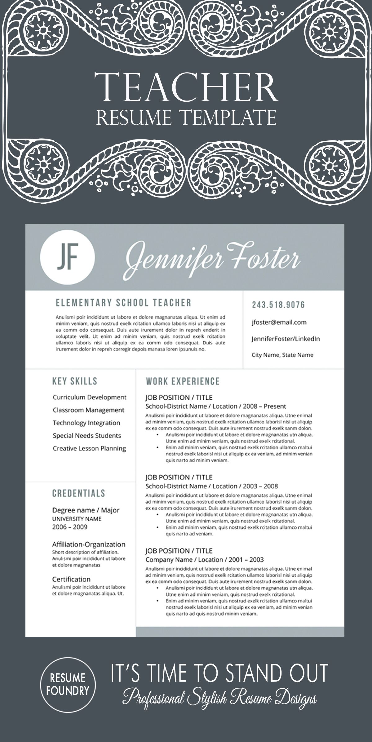 Teacher Resume Template Teacher Resume Template  The Jennifer  Teacher Resume Template