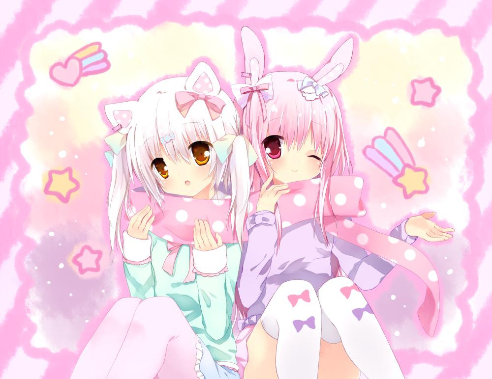 Anime Art Neko Cat Girl Cat Ears Bunny Girl Rabbit Girl Rabbit Ears Pastel Fairy Kei Fashion Anime Anime Friendship Anime Neko