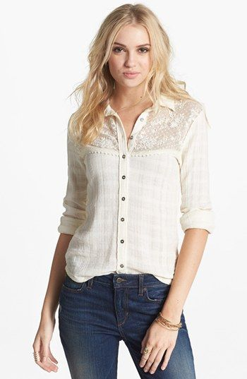2b1b404f1db216 Free People 'Saddle Up' Lace Yoke Shirt available at #Nordstrom LOVE LOVE  LOVE this shirt!!!