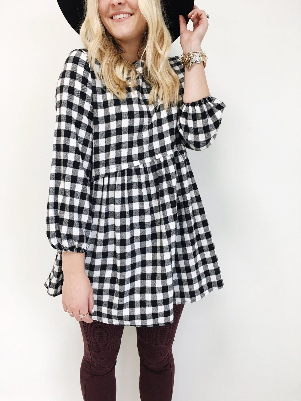 Black White Checkered Top Babydoll Waist Long Sleeve W