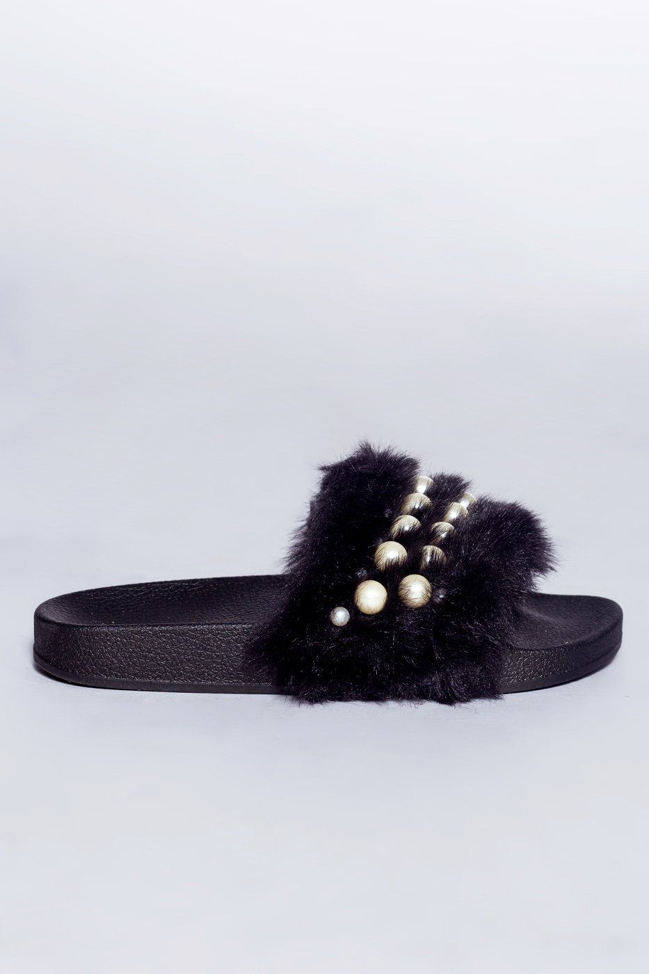 6a50605e667bdc Chanell Fur Slides - Black