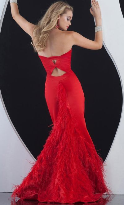 Jasz Breathtaking Prom Dress with Feathered Train 4574. This high ...