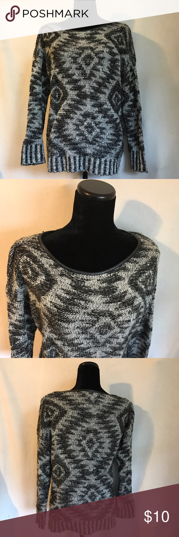 Xhilaration Sweater This sweater is in great condition, no damage or holes! It has an awesome faux leather neckline and is very comfortable! Xhilaration Sweaters
