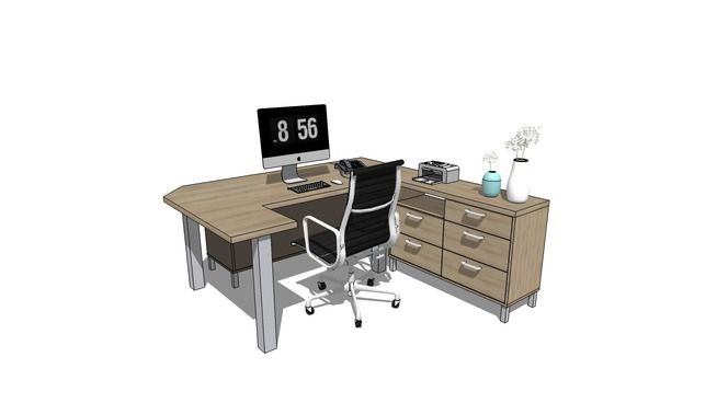 Office table complete with lockers and chair 3d warehouse