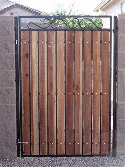 Wood Slats Between Metal Fences Google Search Wood Gate