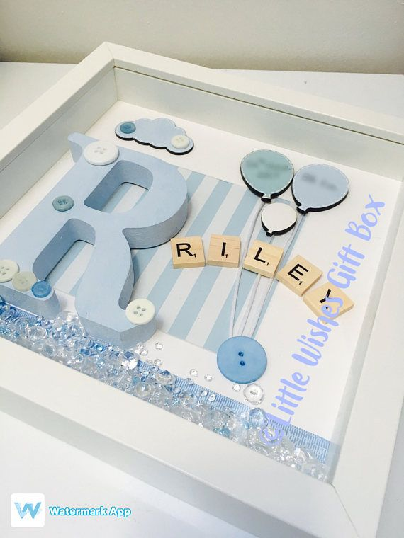 Baby Boy Birth Child Initial Box Frame New Baby Nursery