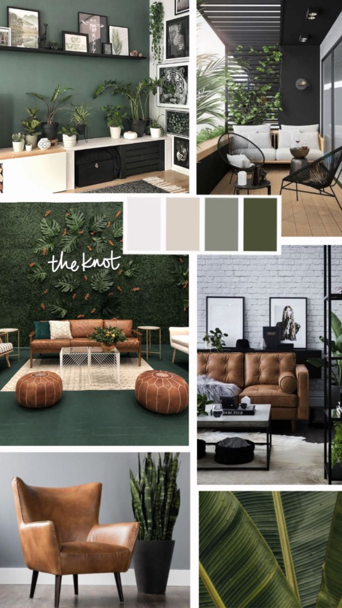 Ideas para decoracion urban green #urban #deco #interiordesign #green #inspo #urbanjungle #loft #moodboard