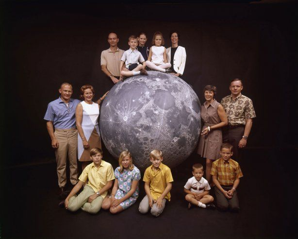 Not originally published in LIFE. The Apollo 11 astronauts and their families pose with a scale model of the moon, spring 1969.