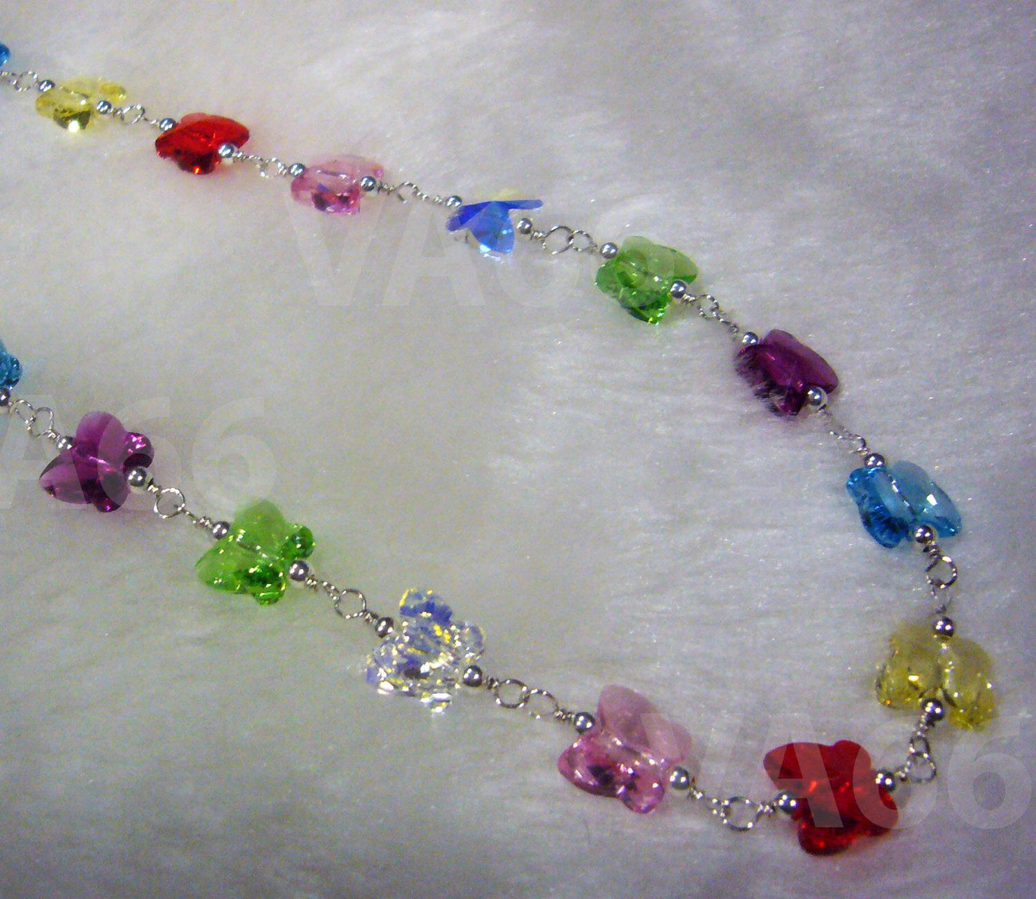 Butterfly Crystal Necklace 925 Sterling Silver Swarovski Crystal Chain Flower