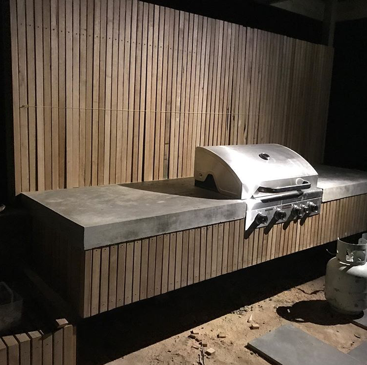 Grey Concrete Top With Spotted Gum Battens 40x19mm Outdoor Bbq