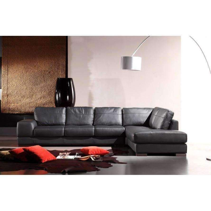Divani Casa 260 Black Leather Sectional Sofa