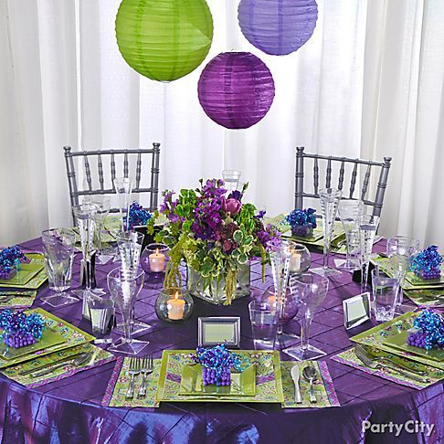 Wedding reception in purple and green make a statement for Table linen color combinations