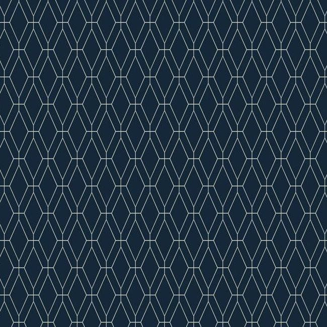 Diamond Lattice Wallpaper in Navy design by York Wallcoverings