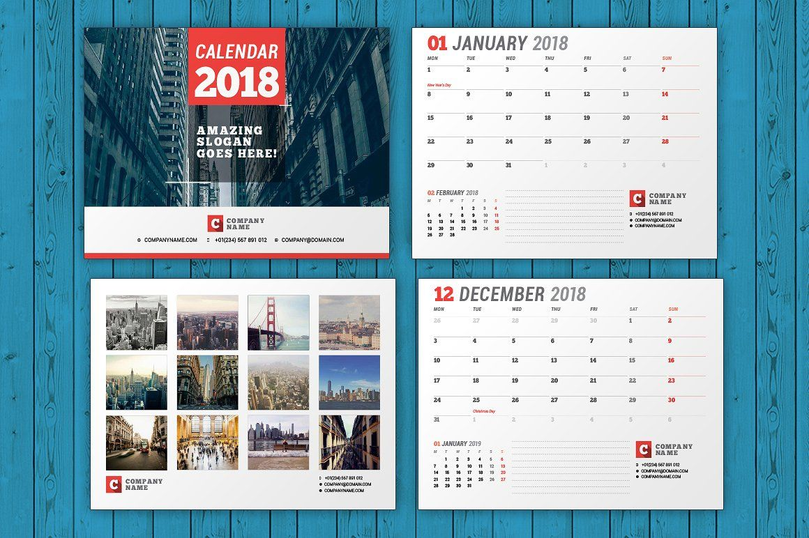 Wall Calendar For  Year Fully Editable Layered Indesign