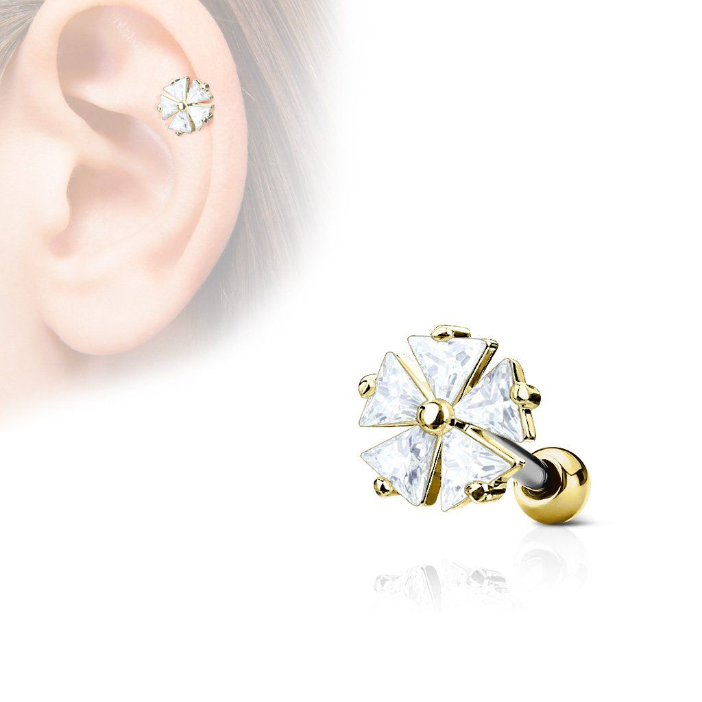 Jewish nose piercing  Flower Top CZ Ear Cartilage Daith Helix Tragus Barbell Stud