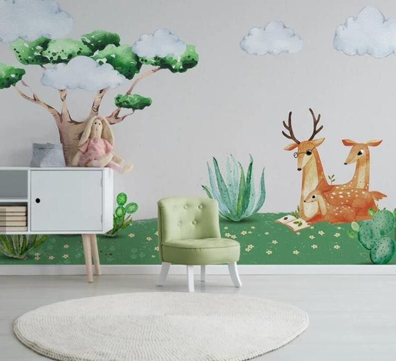 3D Kids, Watercolor, Sika deer WallpaperNursery Wallpaper