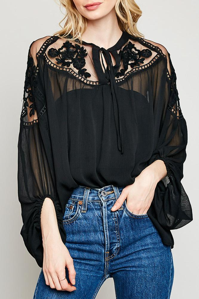 161ae8ba82e Black Sheer Tie-Front Peasant Top with Lace in 2019 | Holiday ...