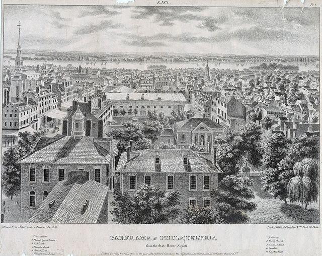 Panorama Of Philadelphia From The State House Steeple East C1838 Philadelphia Steeple Old Photos