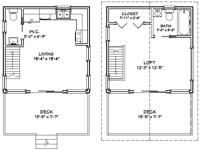 Tiny Home Designs: 16x16 House W/ Loft -- #16X16H1 -- 493 Sq Ft