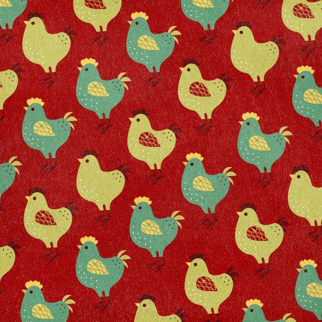 Vintage Cute Vector Red Chicken Wallpaper Pattern From Joycebean Illustration
