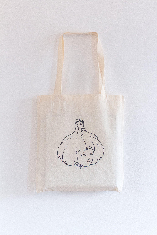Download Garlic Girl Hand Printed Fair Trade Tote Bag Etsy Printed Canvas Tote Bag Printed Tote Bags Girls Hand