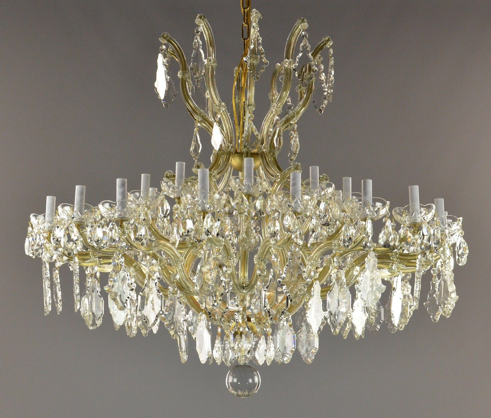 Huge marie therese crystal brass chandelier c1940 brass chandeliers arubaitofo Images