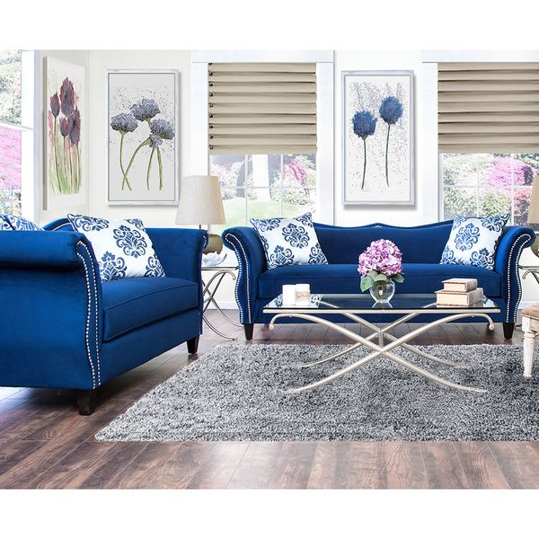 Furniture Of America Othello 2 Piece Sofa Set Royal Blue