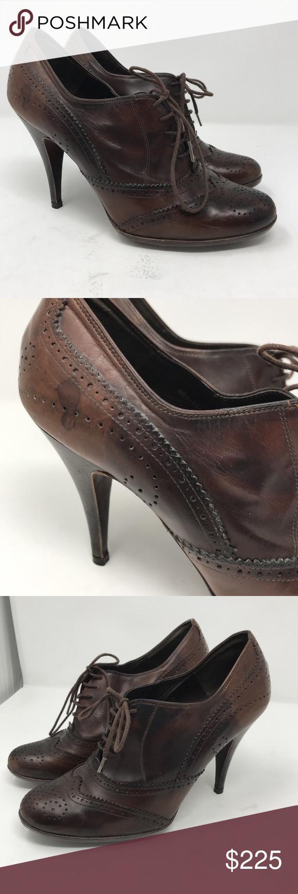 Pedro Garcia Maddie Leather Brogue Pumps Size  IT 39 Wingtip Shoe