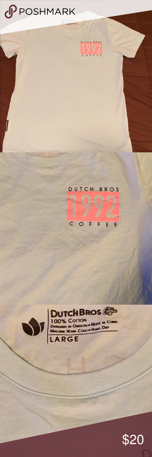 Dutch Bros T-shirt, Size Large Worn only once, excellent condition, no stains or rips, non smoke home. Dutch Bros Tops Tees - Short Sleeve #dutchbros Dutch Bros T-shirt, Size Large Worn only once, excellent condition, no stains or rips, non smoke home. Dutch Bros Tops Tees - Short Sleeve #dutchbros