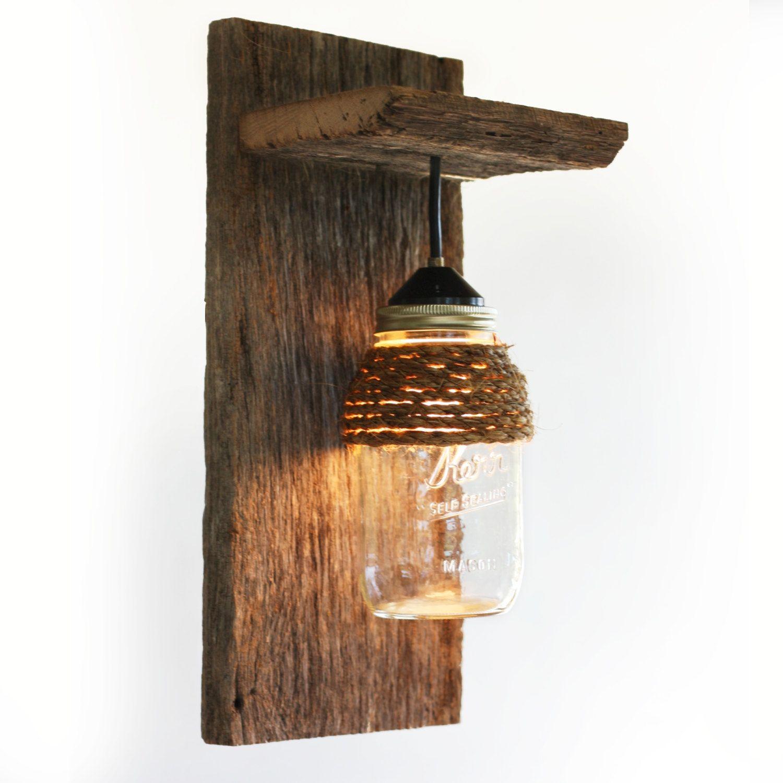 Items Similar To Wall Sconce Lighting: Mason Jar Light Wall Fixture Barnwood Wall By