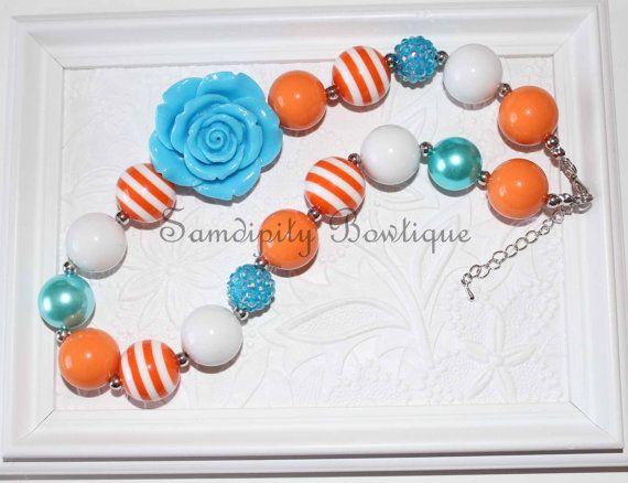 Turquoise and Orange Chunky Bubblegum Necklace by SamdipityBowtique, $21.95