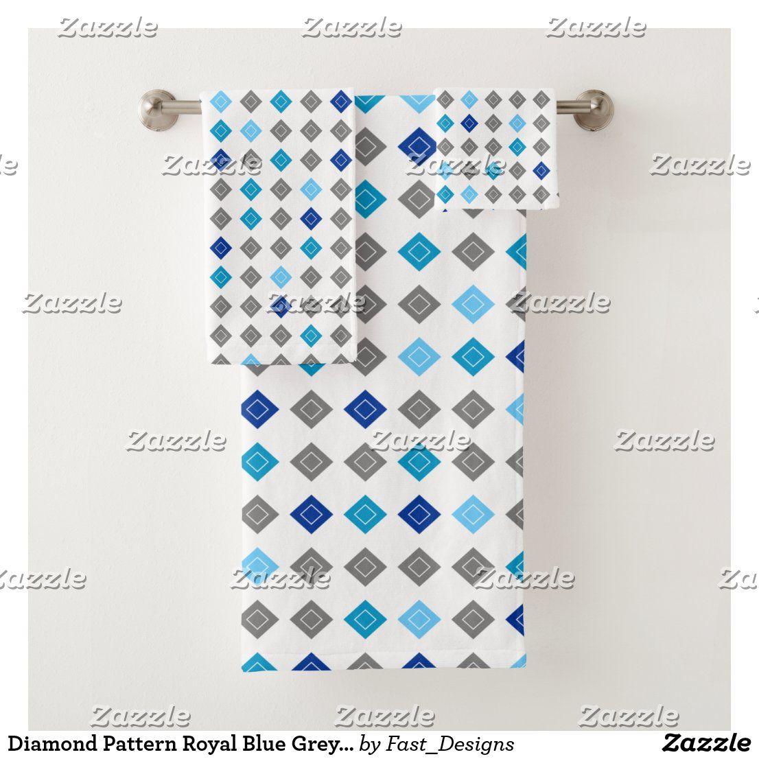 Diamond Pattern Royal Blue Grey Baby Blue Bath Towel Set Zazzle Com Blue Bath Towels Bath Towel Sets Blue Bath [ 1106 x 1106 Pixel ]