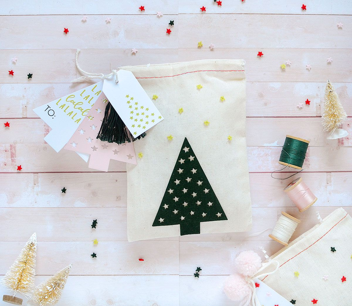 Vintage wedding decorations ideas november 2018 Christmas Tree Muslin Bag by Rebecca Luminarias for Papertrey Ink