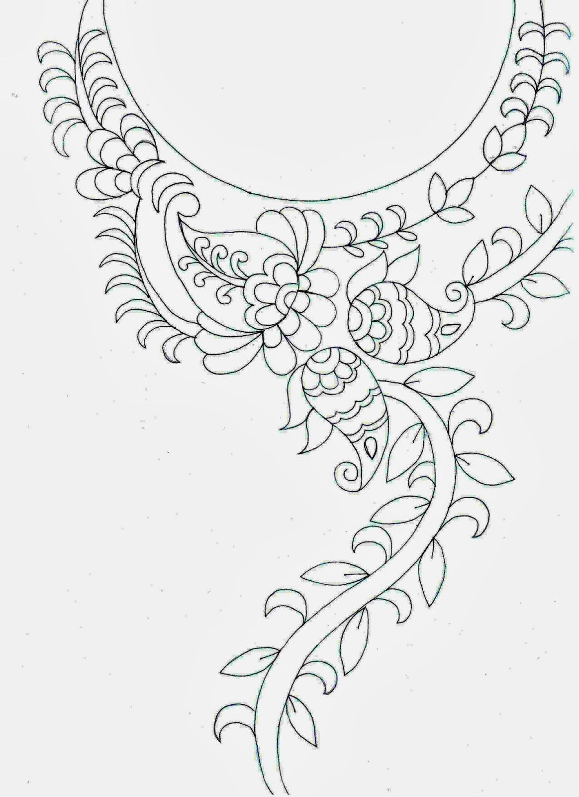 Hand Embroidery Designs For Neck  Google Search