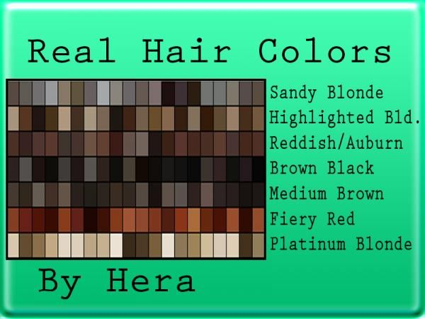 Realistic Hair Color Swatches For Photoshop Hair Color Hair