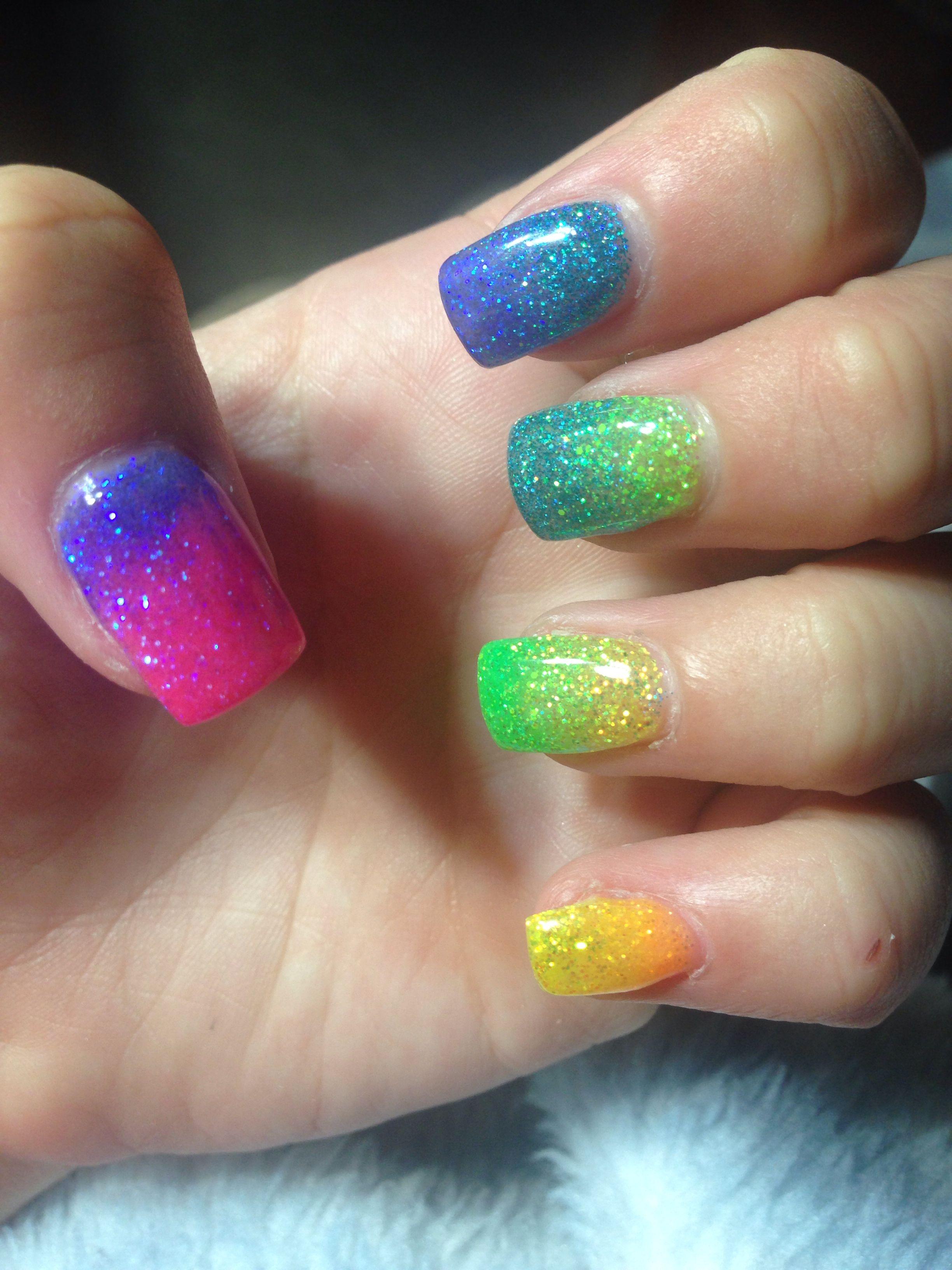 Glitter Fade Rainbow Gel Nails Gel Nail Designs Nails Nail Designs