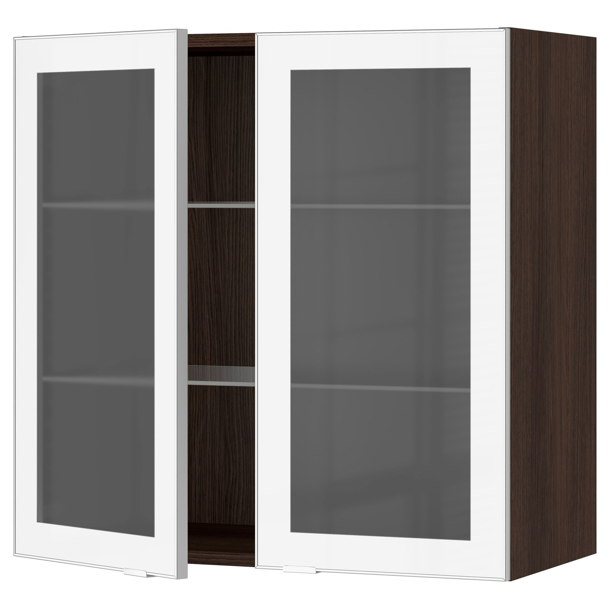 IKEA - SEKTION wood effect brown Wall cabinet with 2 glass ...