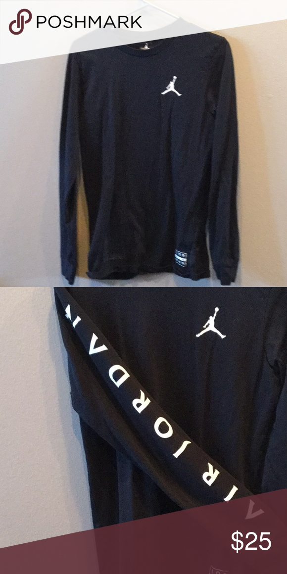 51dfe6b342b9 Air Jordan T-shirt Black air Jordan long sleeve T-shirt. Logo down sleeve Jordan  Shirts Tees - Long Sleeve