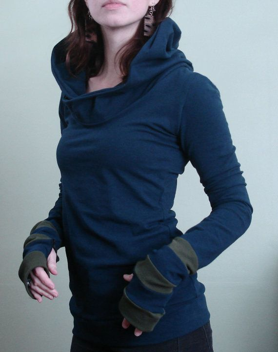hooded top with thumb holes Navy/Olive by joclothing on Etsy, $60.00