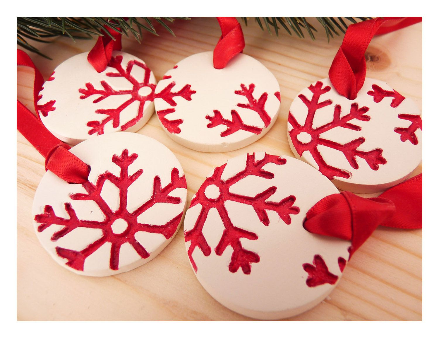 5 RED porcelain winter white ornaments with XL snowflakes. | Holiday ...