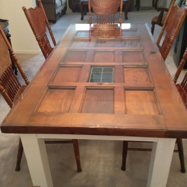 Our new dining room table made from an old door built in for Built in dining table
