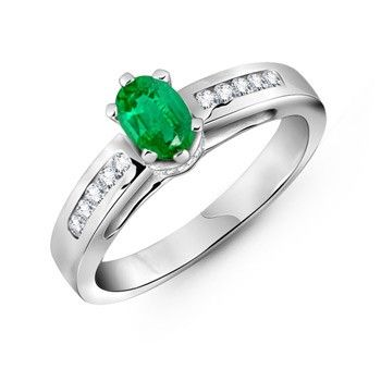 Angara Natural Solitaire Emerald Infinity Knot Ring in Platinum VffNtWefzs