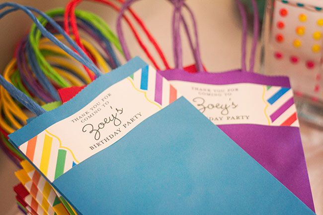 Rainbow Party Favor Bags Made Using Printable Treat Bag Labels From Abug