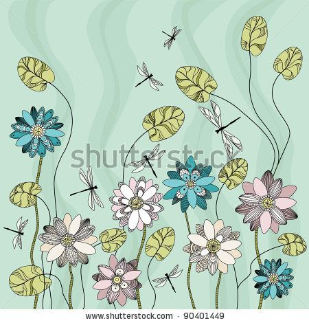 Water Lily and dragonfly - stock vector