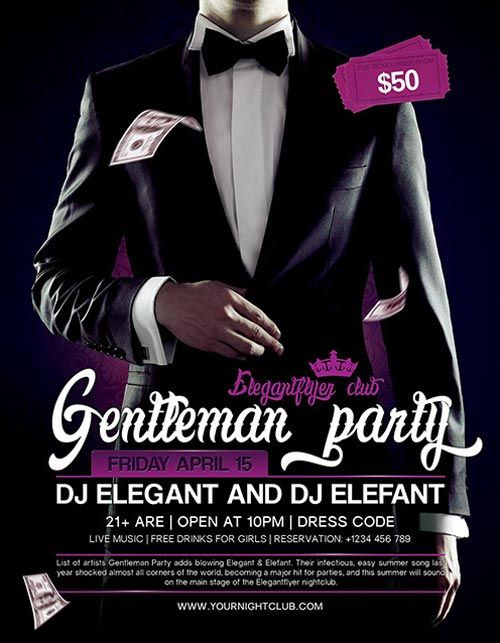 Gentleman Party Free PSD Flyer Template -    freepsdflyer - harmony flyer template