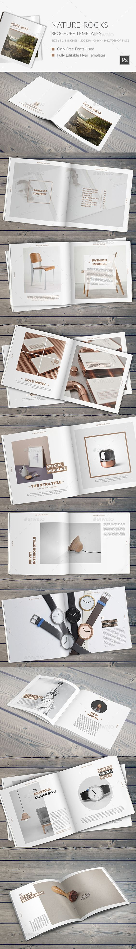 Nature Rocks Square Portfolio Brochure Template PSD design Download