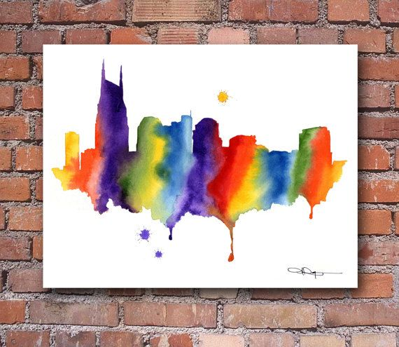 Florida Abstract Map Watercolor Painting Art Print by Artist DJ Rogers