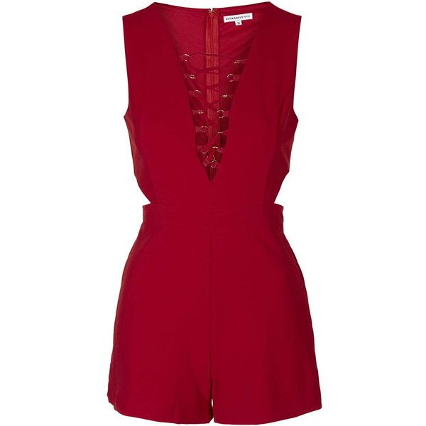 Lace-Up Playsuit by Glamorous Petites (1.620 RUB) ❤ liked on Polyvore featuring jumpsuits, rompers, dresses, playsuits, jumpsuit, macacão, vestido, red, red jump suit and romper jumpsuit